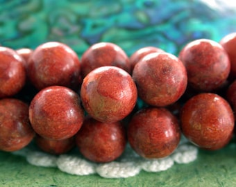 10mm Round Red Sponge Coral Beads, Dyed Coral Beads, Apple Coral Beads SP-308
