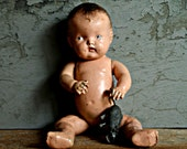 antique creepy and spooky doll-composition doll-Halloween