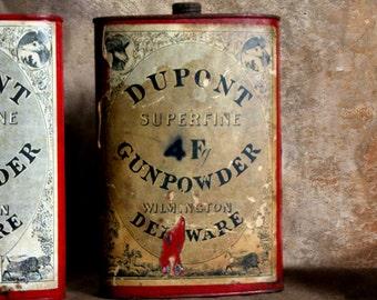 vintage gunpowder tins, Dupont gunpowder, rustic decor, antique advertising, man cave decor