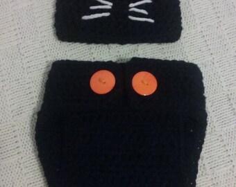 Crocheted Black Cat Diaper Set