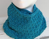 Hand Knitted Cowl, Teal Colored Infinity Scarf, Women's Alpaca and Wool Cowl, Winter Accessory, Soft Scarf, Handmade Snood, Loop Scarf