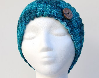 Blue Spiral Rib Hat, Women's Handmade Beanie Hat, Hand Knit Hat with Button, Warm Fall and Winter Accessory