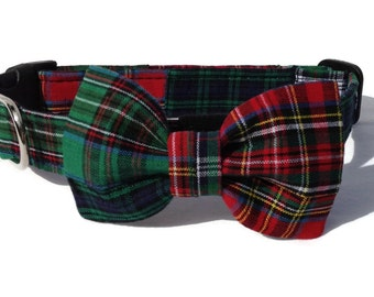 Christmas Patchwork Tartan  Plaid Dog Collar and Bow Tie  Set for Small to Large Dogs