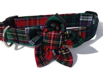 Christmas Tartan Patchwork Plaid Dog Collar  and Flower  Set for Small to Large Dogs