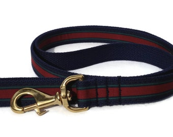 The Collegiate Webbing Dog Leash in Navy and Maroon Stripe with Brass Hardware