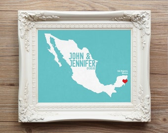 Mexico Wedding Gift - Personalized International Map - Custom Destination - City and Country Modern Art Print - Cancun, Riviera Maya, Cabo