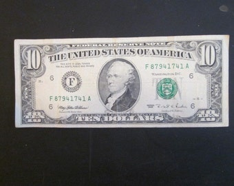 TEN D0LLAR FEDERAL RESERVE N0TE 1995 VlNTAGE C0LLECTIBLE - N0 PayPal accepted