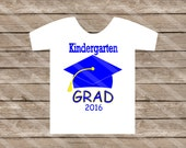 Kindergarten Graduation Blue Digital Download for iron-ons, heat transfer, Scrapbooking, Cards, Tags, DIY, YOU PRINT