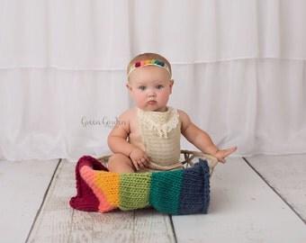 Rainbow Baby soft wool knit baby layer basket stuffer with matching stretch jersey band, newborn prop set