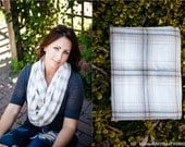 Soft White, grey and tan Flannel infinity scarf