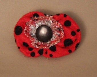 Hair Clip...Black polka dots, red fabric and button