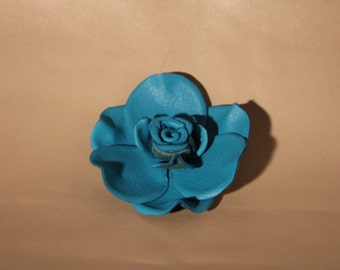 Leather Rose Hair Barrette... Hand made leather rose hair clip in teal leather.