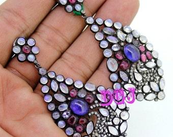 0.72ct rose cut diamonds rainbow tanzanite turmaline victorian silver earring MVE_0051 free shipping