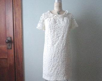 Short Wedding Dress, Vintage Lace Mini Dress, 1960s Mod Dress, Retro Minidress, White Lace Short Dress, Vintage White Dress, Reception