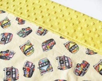 Baby Blanket - VW Volkswagen Camper baby neutral yellow blanket