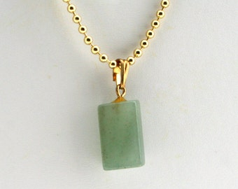Vintage 1970s green stone pendant, jade, sage, basil, rectangle, 18 inch gold ball chain, right angle, tumbled stone, natural rock