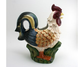 Vintage ceramic rooster pitcher, French country chicken teapot, hen vase, Jay Import china, farmhouse kitchen decor, chicken collector