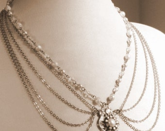 Bridal Necklace Silver Chains Victorian Necklace Pearls Necklace Ivory pearls Vintage necklace Rhinestone Statement Necklace Ivory Crystals