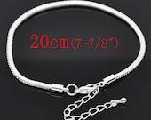 "Snake Chain Bracelet - Silver - Fits European Beads - 7-7/8"" - 20cm  - Ships IMMEDIATELY from California - CH567"