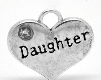 20 Daughter Charms - WHOLESALE - Rhinestone - Antique Silver - 16x14mm - Ships IMMEDIATELY from California - SC1191a