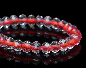 200 Glass Beads - Orange Red Center - Transparent - Faceted - 6mm - 1 Strand  - Ships IMMEDIATELY from California - B1225