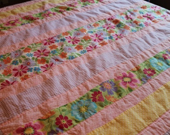 CLEARANCE, Handmade Baby Girl Quilt Pink, Purple, Yellow, Blue, Green, and White, Flowers Baby quilt, Floral,Toddler, Scrappy,  nursery
