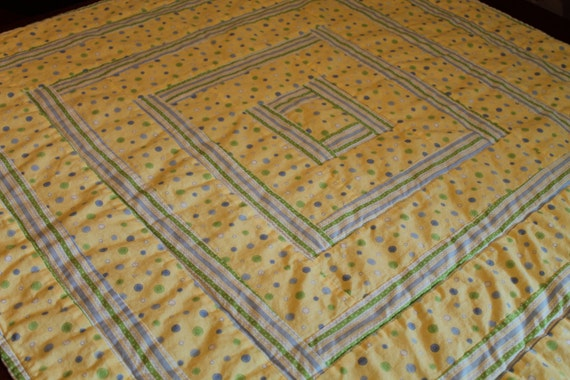 Modern Handmade Baby Quilt, Neutral Baby Quilt, Yellow, Blue, Green and White, Carseat, Stroller Quilt, Newborn Quilt, nursery