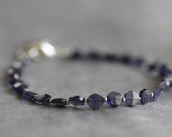 FLASH SALE Iolite Bracelet, Midnight Blue, Dainty, Delicate, Thai Silver, Indigo Blue, Gemstone Bracelet, 4mm, Sterling Silver, Cross Charm