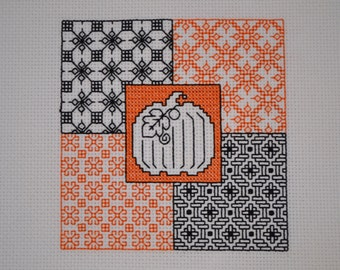Fall Blackwork Pumpkin Counted Cross Stitch (Finished)