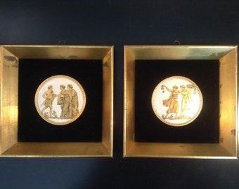 Vintage neoclassic Greco Roman painting on porcelain in gilded frames - pair