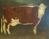 RESERVED LISTING for TIFFANY----1st Layaway Payment -- Vintage Cow Oil on Canvas Painting by Elizabeth Gilkey, Antique Pine Frame