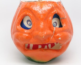 Vintage 1950's Halloween 6 Inch Jack-O-Lantern with Scar Face, made with Pulp Paper Mache