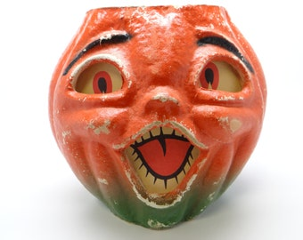 Large 7 1/2 Inch Vintage 1950's Halloween Jack-O-Lantern, made with Pulp Paper Mache