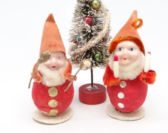 Two Vintage 1950's Christmas Ornaments, Musical Santas Elves