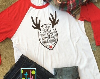 Adorable Reindeer Names Red Baseball Tee Raglan Tee Christmas Tee