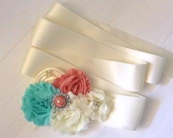 Coral and Aqua Bridal Sash, Flower Girl Sash, Maternity Sash, Bridal Belt, Wedding Sash, Bridesmaid Sash, Custom Sash, Satin Sash