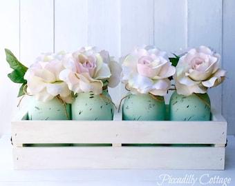 Rustic Wood Planter Box with Aqua Painted Mason Jars, Rustic Wedding Centerpieces, Wedding Decor, Home Decor, Flower Vase