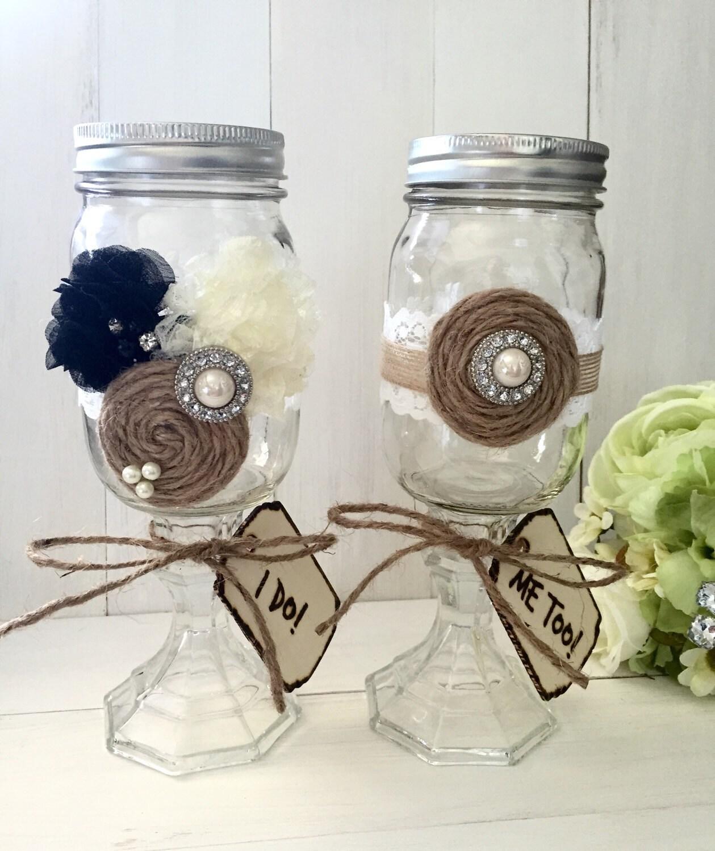 mason jar wedding toasting glasses wedding by piccadillycottage. Black Bedroom Furniture Sets. Home Design Ideas