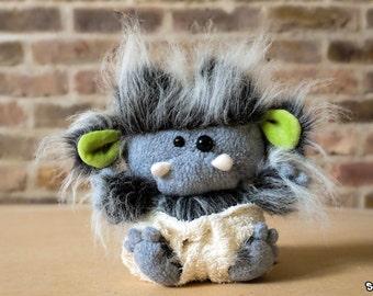 Suki Baby Sasquatch Plush- Grey with Green Ears