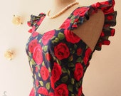 50s Vintage Dresses Casual Pin Up Party Dress Rose Romance Floral Dress Ruffle Floral Bridesmaid Dress Spring Summer SS2016-XS-XL,Custom