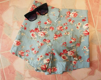 "Floral High Waist Short - Greenish Blue with Floral - Summer Shorts - Free Size Waist 26""-28"", Hip 35""-37"""