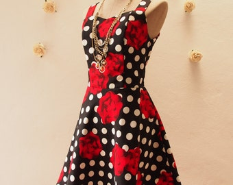 Women Halloween Dress Mini Dress Black Polka Dot Dress Red Rose Dress Summer Casual Dress Vintage Inspired Sundress Shorts Dress -Size M