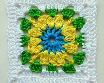 Instant Download Crochet PDF pattern - LD-0102 Floral afghan block