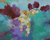 """Abstract Landscape, Colorful Original Acrylic Painting, Trees, Modern Wall Art, """"Walking Up the Hill"""""""