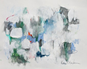 "Abstract Expressionist Mixed Media Work on Paper, Silver, Blue, Green ""Rain in the Cascades"" 14x17"