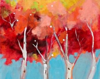 "Small Abstract Tree, Landscape Painting, Original Acrylic Art, ""Fall Trees"" 8x10"