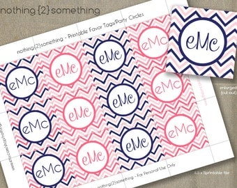 Printable Cupcake Toppers/Party Circles/Favor Tags - Navy/Pink Chevron