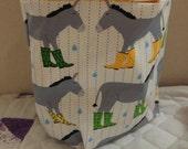 CUSTOM ORDER Donkeys in Rain boots Sock Sack and Clutch