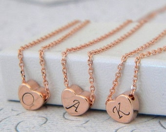 Rose Gold Heart Initial Necklace
