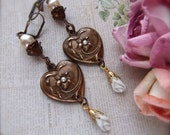 Chocolate Ox Brass, Heart Earring, Brown Patina, Heart Pearls, Ceramic Bud Drop, Vintage Pearl, Baroque Pearl, Czech Bell Caps, Floral Heart